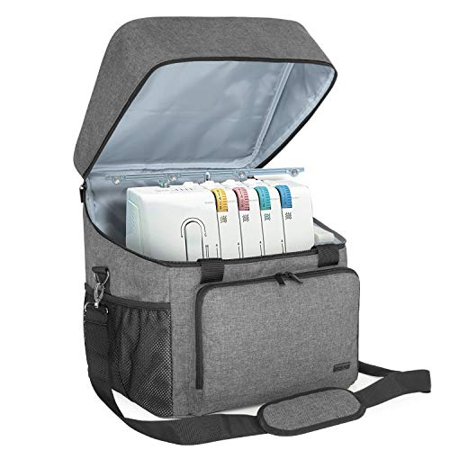Luxja Serger Case for Most Standard Overlock Machines, Serger Bag with Accessories Storage Pockets (Patented Design), Gray
