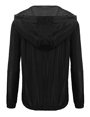 ELESOL Women's Waterproof Rain Jacket Drawstring Hooded Zip up Outdoor Windbreaker