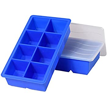 AROTAO Ice Cube Trays Silicone Large Ice Cube Trays with Lids (2 Pack) - Molds 8 X 2 inch Big Silicon Ice Cube Molds for Whiskey and Cocktail - Reusable and BPA Free - Blue