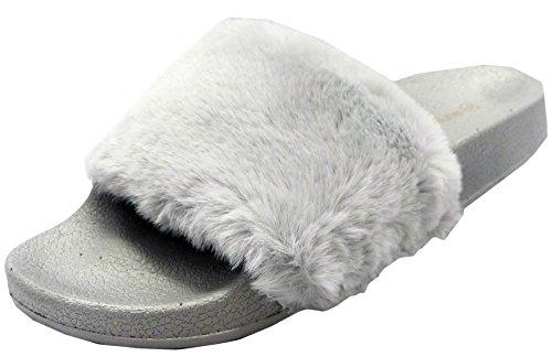 Wild Diva Women's Faux Fur Flip Flop Slide Flat Sandal (6 B(M) US, - Trend Celeb