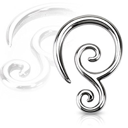 Double Swirl Earrings (Double Swirl 316L Surgical Steel WildKlass Taper (Sold as a Pair))