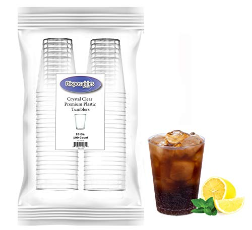 Heavy Duty 10 oz Crystal-Clear Party Tumblers | 100 Count Pack | Disposable or ()