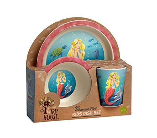 Kids Dinnerware 3 Piece Set - Bamboo Plate, Bowl, Cup (Mermaid)