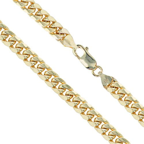10k Yellow Gold-Hollow Curb Miami Cuban Link Chain 6.9mm Necklace 26'' by Sac Silver