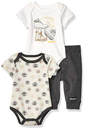 - Timberland Baby Boys 3 Pieces Bodysuit Pants Set, Oatmeal/Vanilla/Charcoal 6-9 Months