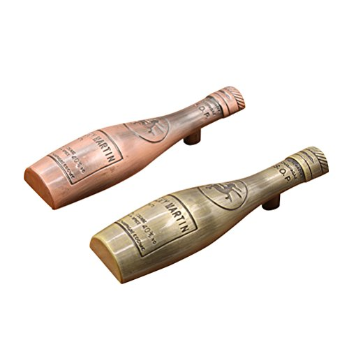 OUNONA 2 PCS Novelty Vintage Bronze Winebottle Cabinet Knob Furniture Pull Handle Kitchen Drawer Hardware (Screw Length 25mm) ()
