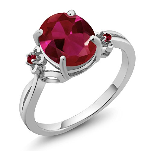 2.53 Ct Oval Red Created Ruby 14K White Gold Ring (Ring Size 8) by Gem Stone King