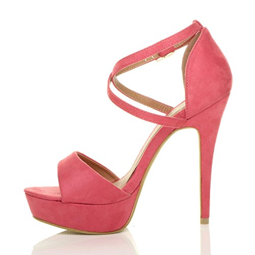 Womens Ladies Platform high Heel peep Toe Cross Over Strappy Sandals Shoes Size Pastel Coral Suede cCQ69291