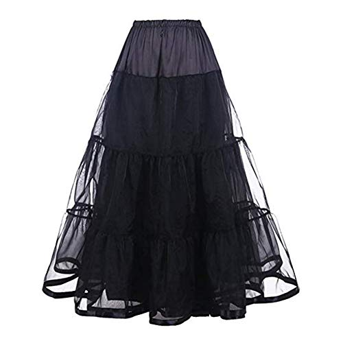 Women's Ankle Length Tulle A Line Satin Bridal Petticoats Formal Dress Slips Crinoline Long Dress Purple Underskirt Hoepelrok Wedding Accessories Casual Skirt (Black) -