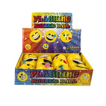 DollarItemDirect BALL EMOTICON FLASH LIGHT UP 12AST IN 12PC PDQ/UPC LABEL, Case Pack of 48