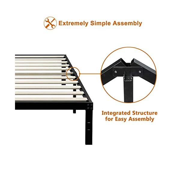 ZIYOO 14 Inch Platform Metal Bed Frame/3500lbs Heavy Duty/Strengthen Wooden Slats Support/Mattress Foundation/No Box Spring Needed/Quiet Noise Free, Twin/Twin XL/Full/Queen/King/Cal King (Twin) 3