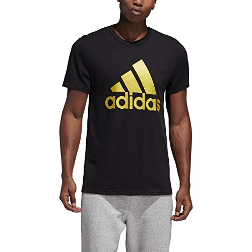 adidas Men's Badge of Sport Classic T-Shirt - Black/Gold Metallic, Small (Gold And White Shirt)
