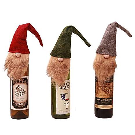 3 Piezas con Tapa de Vino Botella de Vino Tinto de Navidad ...