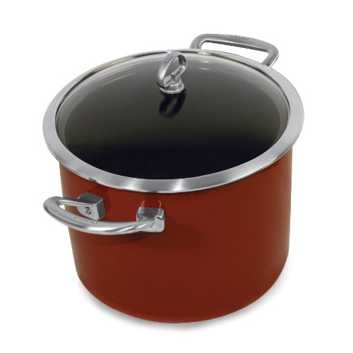 (Chantal Copper Fusion 8-Quart Stockpot with Glass Lid, Chili Red)