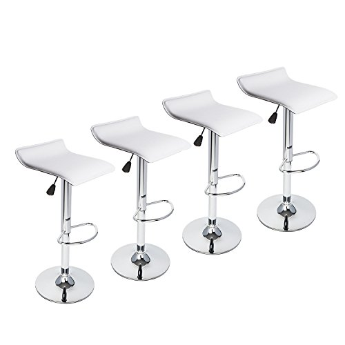PULUOMIS Contemporary Chrome Air Lift Adjustable Swivel Stools, Set of 4, ()
