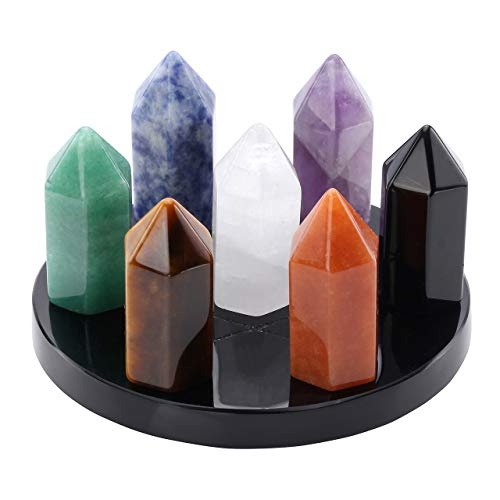 MANIFO 7 Chakra Gemstone Crystal Tumbled Single Point Obelisk Set on Black Obsidian Hexagram Stand Reiki Healing Crystals Authentic Stress Free Relaxation Appetizer Plate, 80 35MM