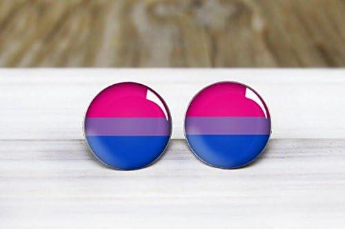 purple and pink rough cut gemstone earrings bisexual LGBTQ pride earrings Blue