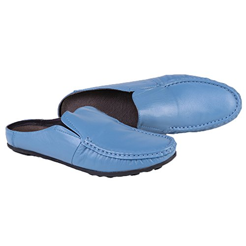 Santimon Slippers Mules Clog Men Classical Comfortable Leather Slip on Shoes Casual Loafers Blue c521Roizz
