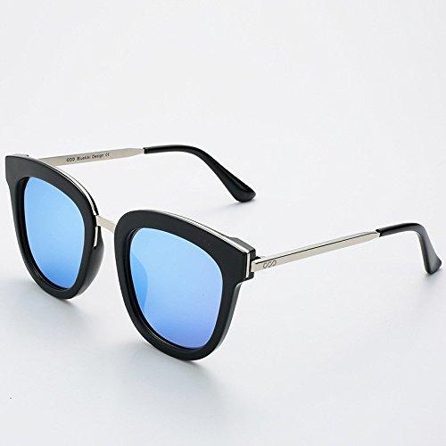 sol metálica Sunglasses redondas guía gafas UV400 verano cuadrada polarizadas Hombre Blue gafas Silver de de TL Mujer Rx8dCXTwqq