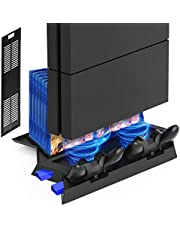 Kootek Vertical Stand for PS4 Slim / Regular PlayStation 4 Cooling Fan Controller Charging Station with Game Storage and Dualshock Charger ( Not for PS4 Pro )