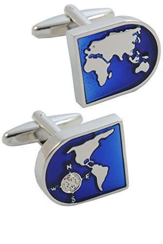 COLLAR AND CUFFS LONDON - Premium Cufflinks with Gift Box - World Map - Brass - Blue and Silver Coloured Earth Face - Travel The Globe - Silver Coloured Exterior