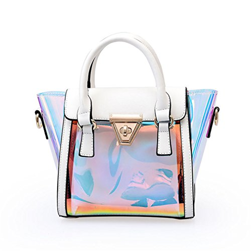Handbags Jelly Shoulder Fashion Handbag Women White Messenger Plastic Laser Candy Transparent Chains Bag Lock Bags Hasp XBxq6qw4