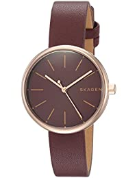 Women's 'Signatur' Quartz Stainless Steel and Leather Casual Watch, Color:Red (Model: SKW2646)