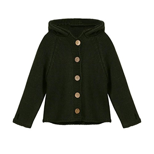 Sunbona Toddler Baby Girls Cute Autumn Button Knitted Sweater Cardigan Warm Thick Coat Clothes (5T(3~4years), Army Green)