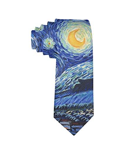 (Men Date Gift Suit Necktie, Van Gogh Starry Night Skinny Tie for Wedding, Formal Party, Reception)