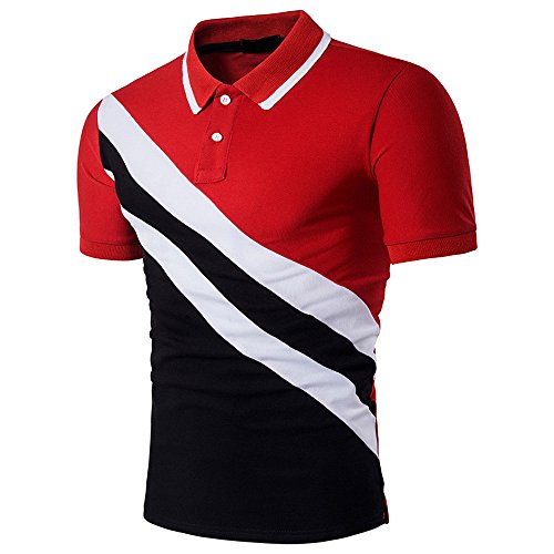 OWMEOT Polo Man! Casual Slim Top Blouse Patchwork Short Sleeve T Shirt (Red, M) ()