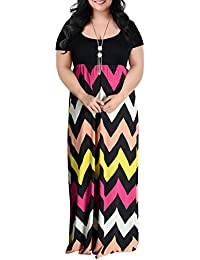 Womens Chevron Print Summer Short Sleeve Plus Size Casual Maxi Dress