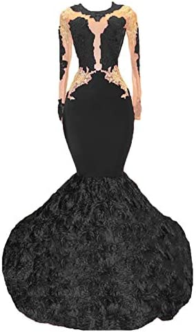 alilith.Z Mermaid Prom Dress Lace Evening Dress Party Gowns For Women With Rose Flowers Train / alilith.Z Mermaid Prom Dress Lace Evening Dress Party Gowns For Women With Rose Flowers Train