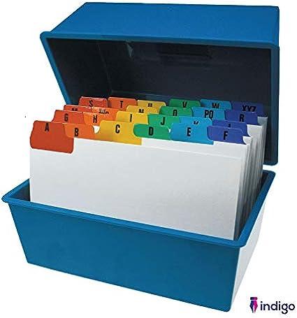 Indigo Office Index - Caja para guardar tarjetas con guía, color ...