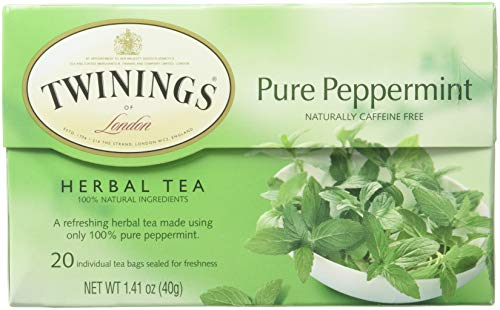 Twinings of London Pure Peppermint Herbal Tea Bags, 20 Count