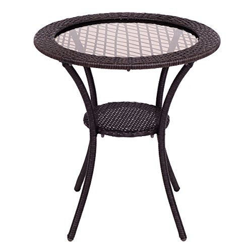 (UBRTools Round Rattan Wicker Coffee Table Glass Top Steel Frame Patio Furni W/Lower)