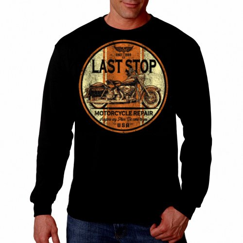 (Last Stop Motorcycle Thermal shirt Biker Rider Route 66 Harley Vintage Mens Long sleeve Tee Black,X-Large )