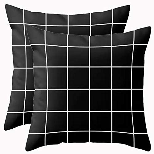 Luckme Pillow Throw Of Pattern Side Fashion One Square Pack Lattice Sofa Home 2 Print Polyster 18 Black Decorative Covers xBQdWrCoe