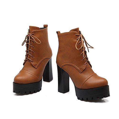 1TO9 Girls Chunky Heels Bandage Platform Imitated Leather Boots Yellow BWoZ9mHZk