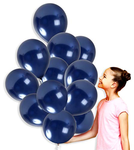 Navy Dark Blue Metallic Balloons 12 Inch Midnight Thick Latex Balloon Bulk Pack of 100 and 65 Yards Curling Ribbons Party Supplies for Wedding Bridal Baby Shower Birthday Decorations ()