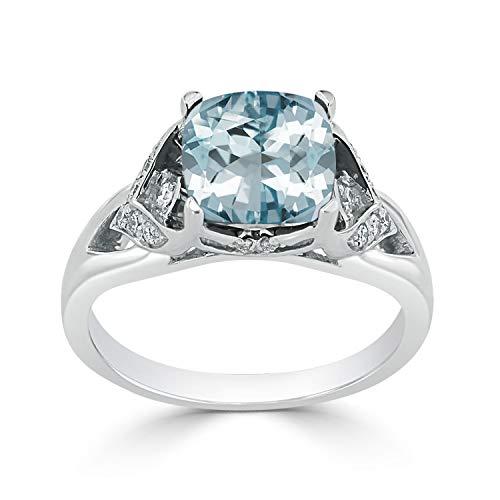 (Diamond Wish 14k White Gold Diamond Engagement Ring with 1.65 ct Cushion-cut Aquamarine Gemstone and 1/8 ct TDW, Size 8.5 )