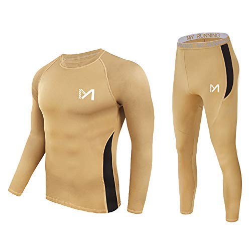 Men's Thermal Underwear Set, Sport Long Johns Base Layer for Male, Winter Gear Compression Suits for Skiing Running Brown