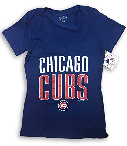 Campus Lifestyle Chicago Cubs Women's V- Neck T-Shirt Blue Large 11/13