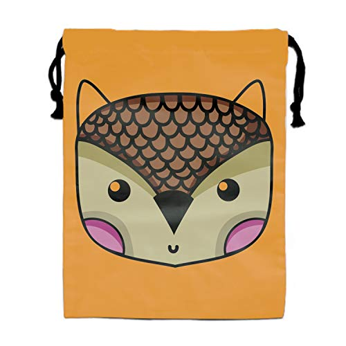 Cute Owl Head Wild Animal Drawstring Bags Sack