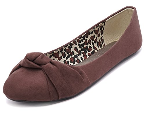 Bow Ballet Flats - Charles Albert Women's Knotted Front Canvas Round Toe Ballet Flats (8, Brown Suede)