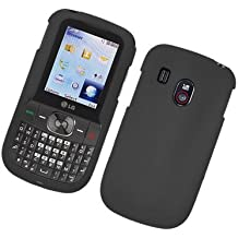 Black Hard Plastic rubberized texture case cover for Tracfone LG 500G