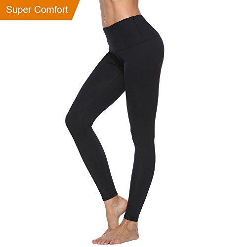 Enther Yoga Pants, Women's High Waist Yoga Leggings Sports Pants For Women w/Inner Pocket (Black, Medium)
