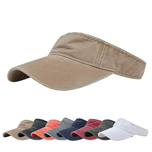 Sport Sun Visor Hats Cotton Ball Caps Empty Top Baseball Sun Cap for Men Women Khaki
