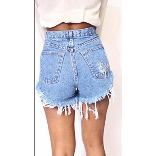 d25c5aac488 85%OFF M2MO Women s Sexy High Waist Distressed Burr Denim Shorts Jeans