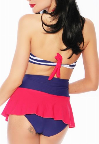 Arunta® Push Up Bandeau Bikini im Vintage Style Marine Retro Look Blau/Rot/Weiß Größe 32 34 36 38 40 42