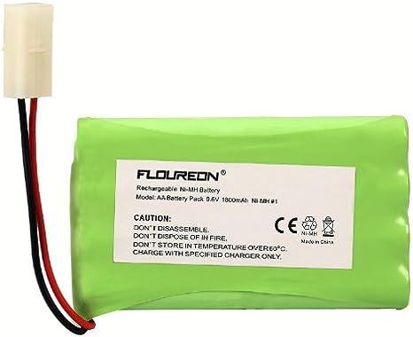 Amazon.com: FLOUREON 9.6 V 1800 mAh 8 Cell Ni-MH batería ...